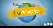 折纸风格地球展示 Paper Earth 纸片 AE模板