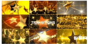 金色星形状转场包 Gold Star Transitions Pack  AE模板颁奖元素