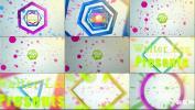 炫酷时尚几何运动图形标志开场颜色绚丽文字包装视频模板