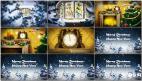 AE大雪中新年圣诞节室内钟表倒计时开场动画下雪片头开场