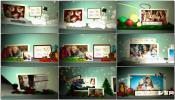 剪纸卡通相框雪中圣诞节折纸弹书电子相册 图片展示AE模板