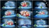 AE模板雪中新年圣诞节卡通动画世界幻灯片相册 月亮下雪星