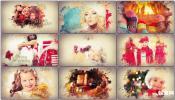 唯美时尚水彩水墨色彩喜庆新年圣诞节水墨幻灯片 相册图片