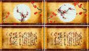 古典风 画卷展开红梅戏曲京剧 舞台晚会LED大屏幕动态视频素