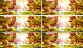 金色梦幻场景高山流水瀑布大雁飞舞梦幻仙境绿野仙踪视频