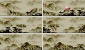 花瓣飘散中国水墨画山河 中国风画卷 视频素材