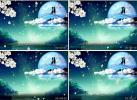 七夕情人节 鹊桥桃花情侣 剪影 月亮星空 中式婚礼 视频素材