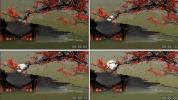 红梅映月 冷色 梅花 晚会中式婚礼节目中国风 LED背景素材