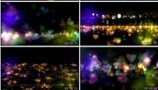 美动感彩色心形粒子飞婚礼 婚庆 温馨唯舞视频态背景素动材