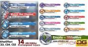 AE模板-电视台三维方块Logo社交图标字幕条动画 Social Media Lower