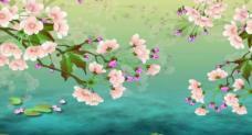 SP23唯美桃花花瓣新鸳鸯蝴蝶梦舞台背景led视频素材