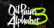 AE模板-个性油墨笔刷书写字母表文字动画 Oil Paint Alphabet 3