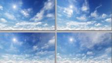 清新明媚阳光蓝天白云动态循环高清视频素材