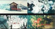 大片雪花过渡的冬季/圣诞节主题内容展示AE工程