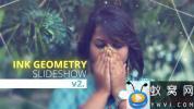 AE模板-水墨遮罩图片开场 Ink Geometry Slideshow V2