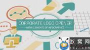 AE模板-信息数据展示Logo动画 Corporate Logo Opener With Elements Of Infographics