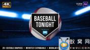 AE模板-棒球体育栏目包装片头 Baseball Tonight Graphics Package